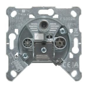 FS 302 F, terminated 3-hole socket / 3-as véglezáró csatlakozó aljzat, SAT, TV, R, 2 dB