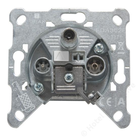 EDA 302 F; terminated 3-hole socket / 3-as véglezáró csatlakozó aljzat, SAT, TV, R, 2 dB
