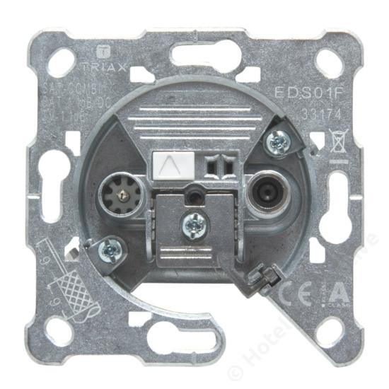 EDS 01 F; terminated 2-hole socket, DC / 2-es csatlakozó aljzat, Sat+Földi, távtáp.