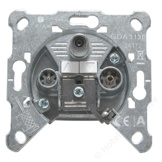 GDA 313 F;  loop through 3-hole socket / 3-as felfűzhető csatlakozó aljzat, SAT, TV, R, 2 dB