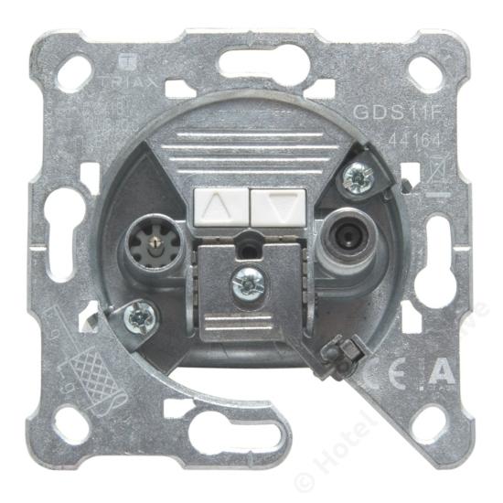 GDS 11 F; terminated 2-hole socket, DC / 2-es csatlakozó aljzat, Sat+Földi, 11 dB, távtáp.