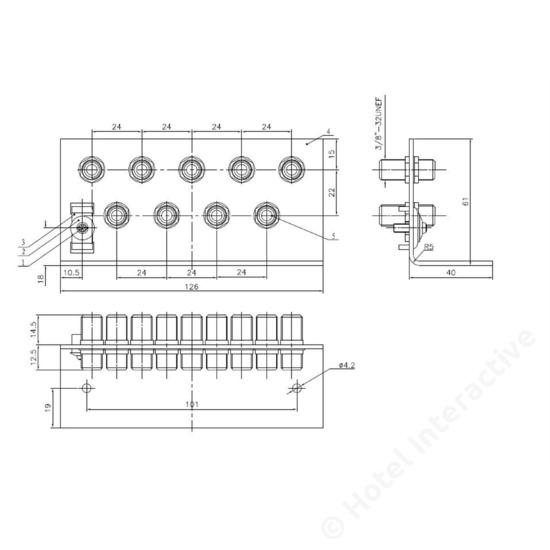 ERW 9 grounding angle 9 x F connector / földelő sín, 9 x F csatlakozó