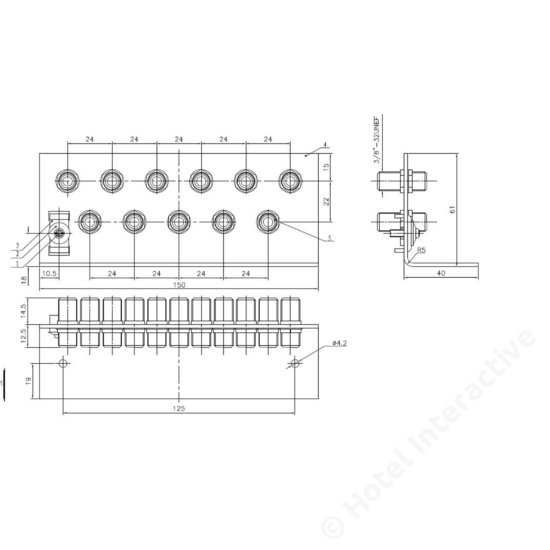 ERW 11 grounding angle 11 x F connector / földelő sín, 11 x F csatlakozó