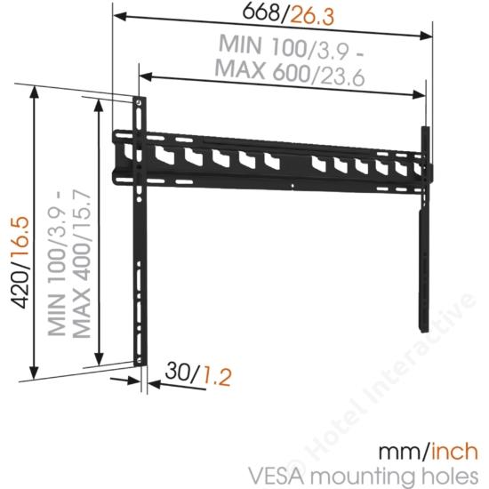MA4000 fali TV konzol 600X400 Fali tv-tartó Vogels
